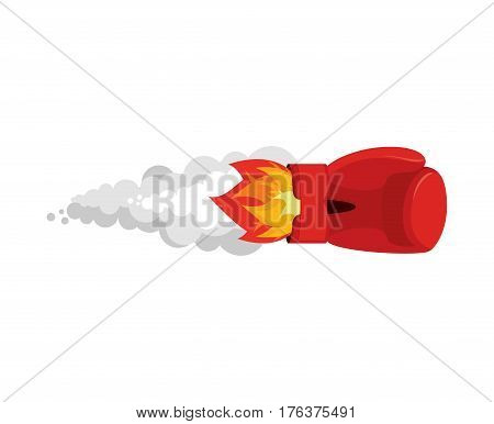 Boxing Glove Rocket. Sport Air Bomb. Fighting Rocket . Flaming Punch. Military Bomb