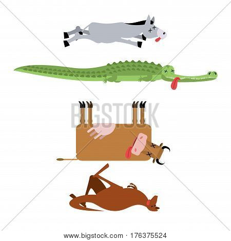Dead Animals Set 3. Donkey And Crocodile. Cow And Kangaroo. Animal Is Death. Corpse Of Beast