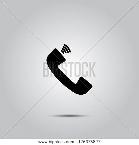 Phone icon in trendy flat style isolated on grey background. Handset icon with waves. Vector illustration, EPS10.