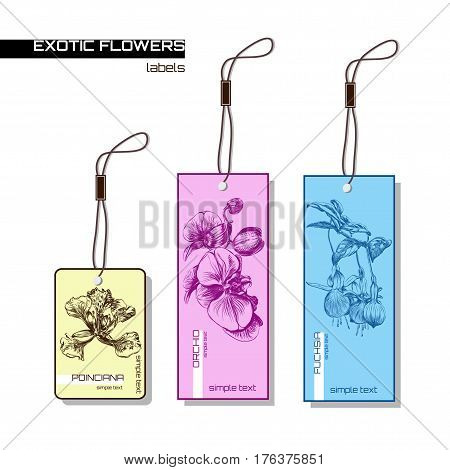Labels with the exotic flowers:fuchsia, orchid, poinciana