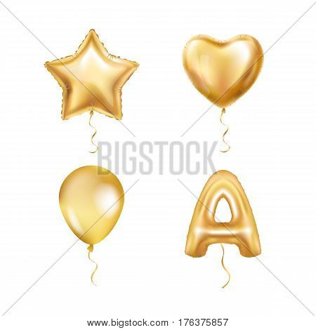 Heart Star Gold Balloons ABC. Metallic golden letter alphabeth. Party balloons event decoration design wedding, birthday, celebration, love, valentines, kids, new year, holiday. Golden shiny bright