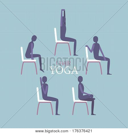 Vector illustration of man or woman sitting on a chair in yoga poses. Relaxing and stretching schematic image. Flat vector illustration in gentle palette.
