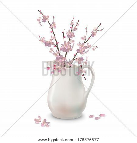 Vector spring Cherry blossoms branch in ceramic jug with fallen petals and flowers on a white background