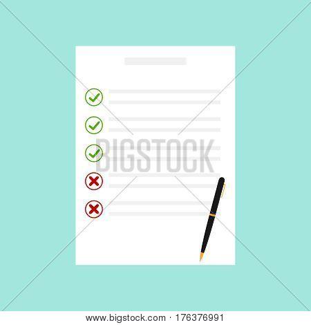 Exam sheet. Flat design vector illustration vector.