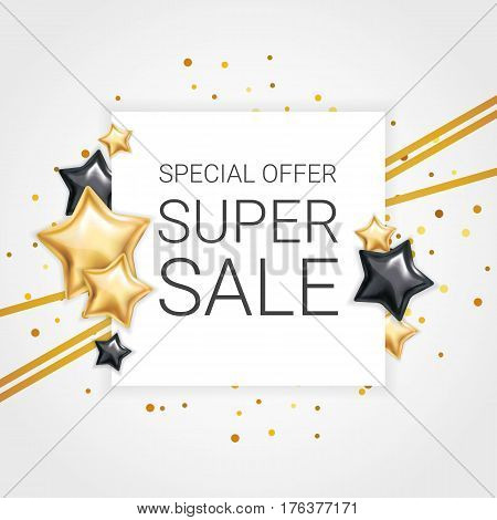 Gold black star background, banners. Golden banner. Gold banner with text. Super Sale logo, web, card, vip exclusive certificate, gift luxury, voucher. Store shopping sale. Special offer header