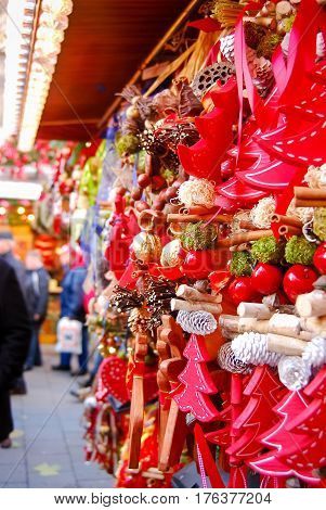 Christmas ornaments hang outside a market stand at Munich's Christkindlmarkt christmas market