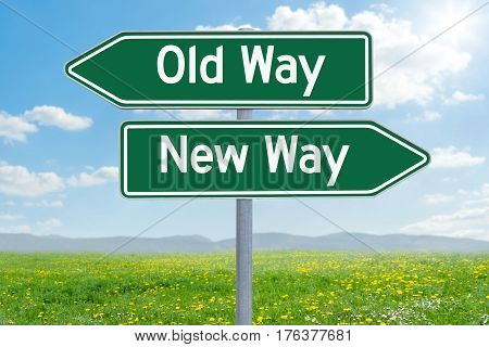 Two Green Direction Signs - Old Way Or New Way