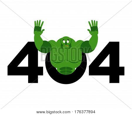 Error 404. Troll Is Surprise. Page Not Found Template For Web Site. Big Green Goblin Does Not Know A