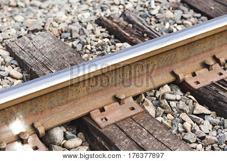 Railroad Track Details With Steel And Wood