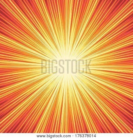 Explosion boom. Superhero frame for comic books. Sun ray or star burst element. Vector illustration radial background for web design banner or print