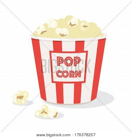 Full popcorn bucket. Classic box of red and white popcorn. Vector illustration isolated on white background