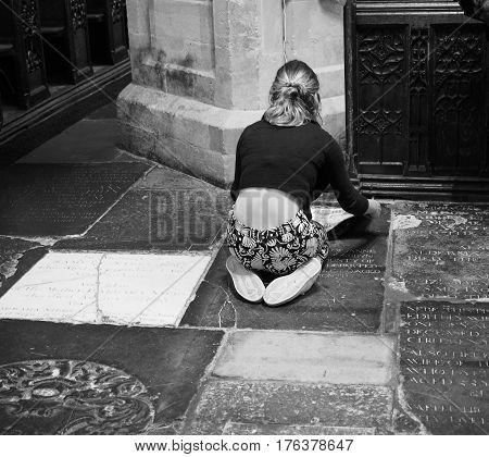 Young Female Artist In Bristol Cathedral In Black And White
