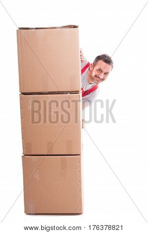 Smiling Man Hiding Being Pile Of Cardboard Boxes