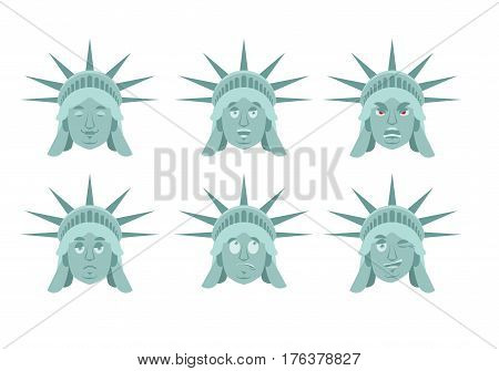 Statue Of Liberty Emoji. Emotion Set. Aggressive And Good Us Landmark Statue Face. Surprised And Sle