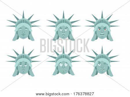 Statue Of Liberty Emoji. Emotion Set. Aggressive And Good Us Landmark Statue Face. Surprised And Sle