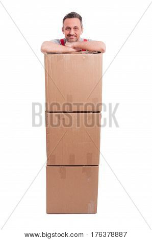 Man Standing Being Pile Of Cardboard Boxes