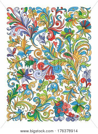 Ethnic colored floral zentangle, doodle background pattern rectangle in vector. Henna paisley mehndi doodles design. Good for cover design. Bright colors.