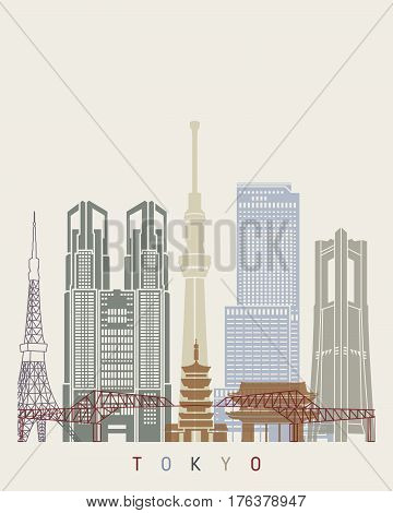 Tokyo V2 skyline poster in editable vector file