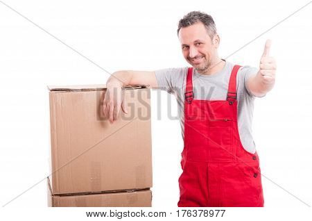 Mover Man Showing Thumb Up And Smiling