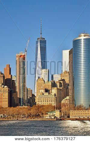 Fragment of Manhattan skyline - view from the cruise ship.