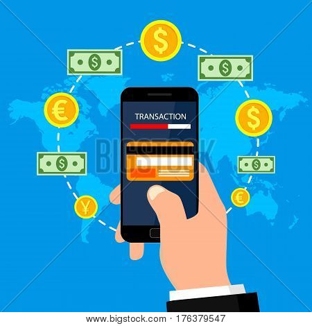 Concepts of online payment methods. Internet banking, purchasing and transaction. Vector illustration, flat design