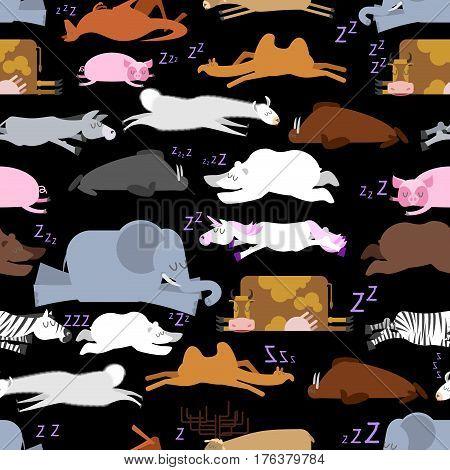 Sleeping Animals Seamless Pattern. Seal And Deer. Crocodile And Camel. Zebra And Bear. Walrus And Ka
