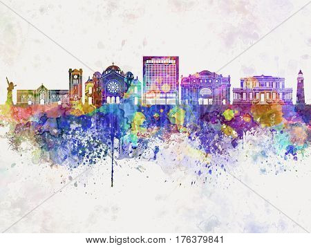 Kingston skyline in watercolor background artistic abstract
