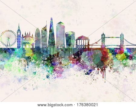 London V2 skyline in watercolor background artistic abstract