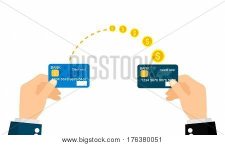 Sending and receiving money with a credit card. Vector illustration, flat business concepts style isolated on white background.