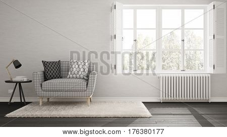 Minimalist Living Room, Simple White And Gray Living With Big Window, Scandinavian Classic Interior