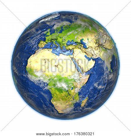 Emea Region On Earth Isolated On White