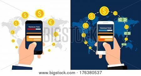 Set of online payment methods. Internet banking, purchasing and transaction. Vector illustration, flat design