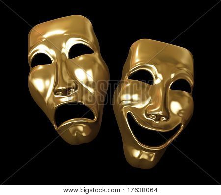 Drama and comedy masks golden