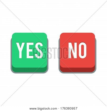 Buttons Yes or No. Vector illustration isolated on white background