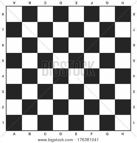 Chess board, black and white design. Vector background illustration
