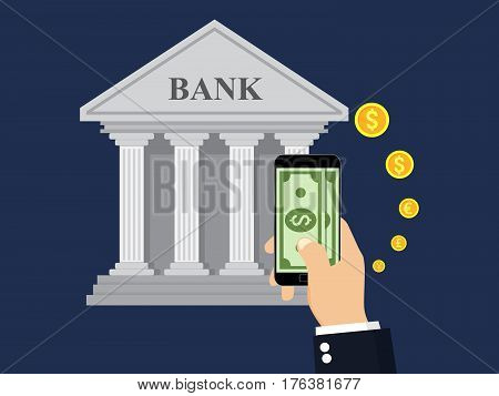 Money transaction, Business, Mobile Banking And Mobile Payment. Money transfer.