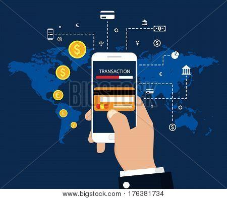 Money transaction, mobile banking and mobile payment. Vector illustration flat modern design poster