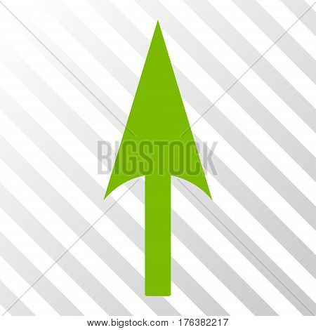 Arrow Axis Y vector pictograph. Illustration style is a flat iconic eco green symbol on a transparent background.