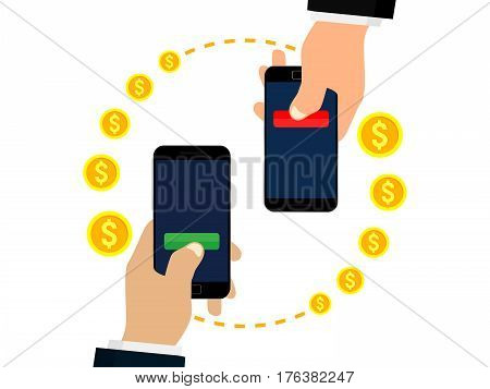 Mobile money transfer. Sending and receiving money. Isolated on white background. Vector illustration