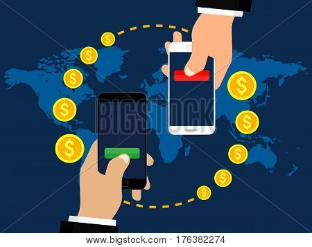 Mobile money transfer. Sending and receiving money. Modern flat style concept vector illustration