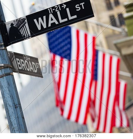 Wall street sign in New York with American flags and New York Stock Exchange in background.