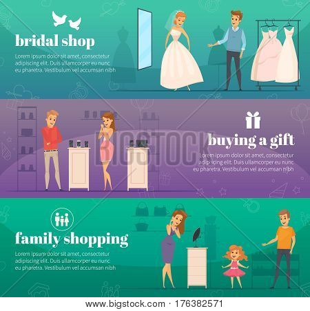 Three horizontal trying shop flat people banner set with bridal shop buying a gift and family shopping descriptions vector illustration