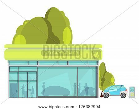 Flat design eco friendly electro cars dealer centre on white background vector illustration