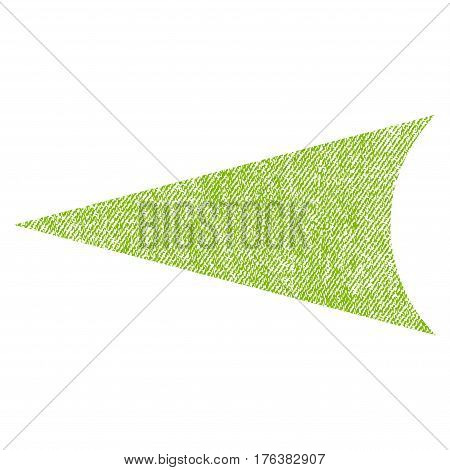 Arrowhead Left vector textured icon for overlay watermark stamps. Fabric light green vectorized texture. Symbol with dirty design. Rubber seal stamp with fiber textile structure.