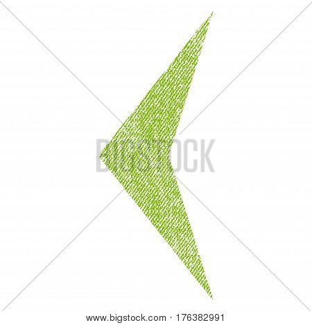 Arrowhead Left vector textured icon for overlay watermark stamps. Fabric light green vectorized texture. Symbol with unclean design. Rubber seal stamp with fiber textile structure.