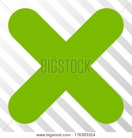 Cancel vector pictograph. Illustration style is a flat iconic eco green symbol on a transparent background.