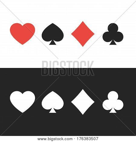 Suit of playing cards. Colored and white on black. Vector illustration symbols isolated on white background