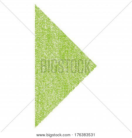 Arrowhead Right vector textured icon for overlay watermark stamps. Fabric light green vectorized texture. Symbol with dirty design. Rubber seal stamp with fiber textile structure.