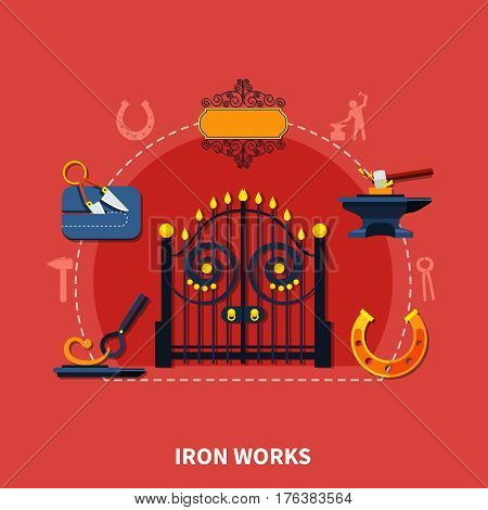 Iron works composition with wrought iron fence signboard horseshoe drop forging images and blacksmith equipment silhouettes vector illustration