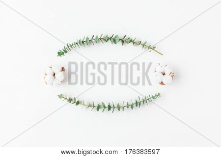 Flowers composition. Frame made of fresh eucalyptus branches and cotton flowers. Flat lay top view